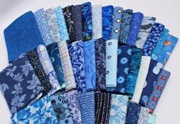 10 Fat Quarters of Assorted Blue Novelty Prints Batiks Calic