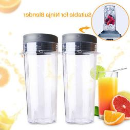 2 Pack Cup w/ Lid 16oz 4 tab For Ninja Blender Replacement B