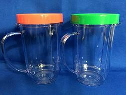 2 Party Cups for Magic Bullet with Lip ring - colors vary re