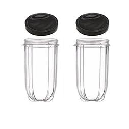 Blendin 2 Pack 16 Ounce Tall Cup with Black Jar Lid, Fits Or