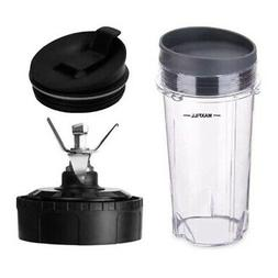 2X(16 OZ Cup with Two Lids 6 Fins Blade for Ninja Blender Re