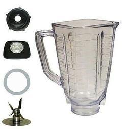 5 Cup Square Top 6 Piece Plastic Jar Replacement Part, Fits