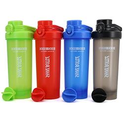 AUTO-FLIP Shaker Bottle 4 Pack for Protein Mixes Cups Powder