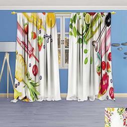 AmaPark Bedroom Blackout Curtains Set - smoothie bottles wit