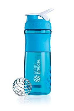 BlenderBottle SportMixer Tritan Grip Shaker Bottle, Aqua/Whi