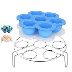 HOUSWOUKER Blue Silicone Egg Bites Molds With Stainless Stee