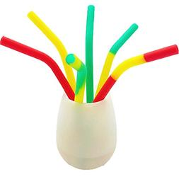 YHSWE 10PCS BPA Free Food Grade Silicone Reusable Drinking S