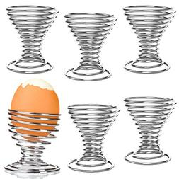 Chrome-Plated Steel Spiral Wire Egg Holder Serving Cups, Mak