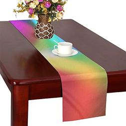 QYUESHANG Color Colorful Blurry 3D Blender Table Runner, Kit