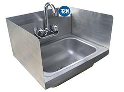 Commercial Stainless Steel Wall-Mount Hand Sink with Side Sp