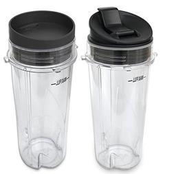 ELEFOCUS 16-oz Cup + Flip-Top to Go Lid + Sip Lids for Nutri