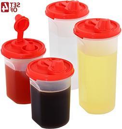 Easy Pour Oil and Vinegar Bottle Set SignoraWare 4 Pack Oliv