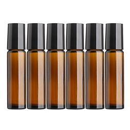 Aguder Essential Oils Roller Bottles, 6 Pack 10ml  Amber Gla