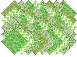Green Blenders Collection 40 Precut 5-inch Quilting Fabric S