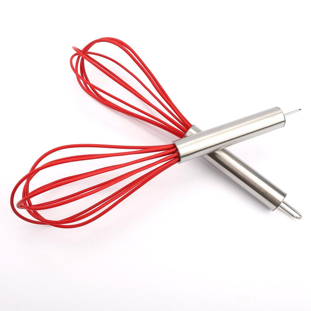 10 Inch Manual Egg Beater Tool Silicone Stainless Steel Whis