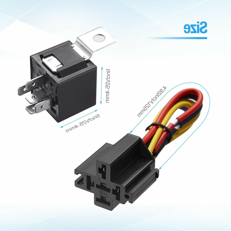 5x SPDT Automotive 5-Pin Wires + Socket JD1914 30/40 Amp