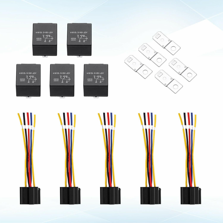 5x 12V SPDT Car Wires + Harness Socket JD1914 30/40 Amp