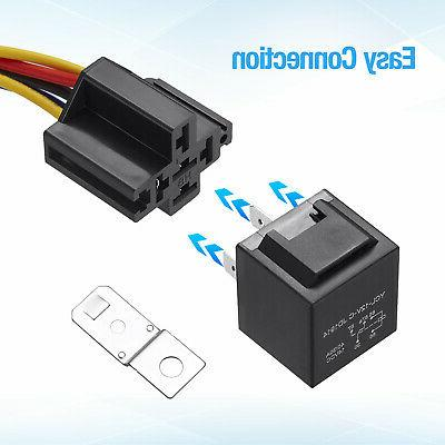 5x Automotive Relay 5-Pin Wires Harness JD1914 30/40 Amp
