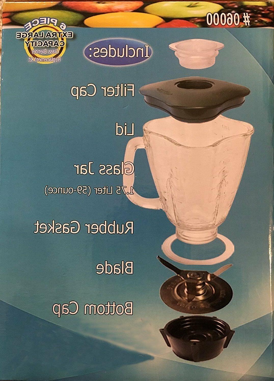 6-Piece Square Blender Jar for Oster Blender, 1.6