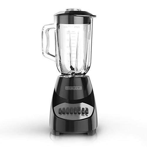 BLACK+DECKER Countertop Blender 5-Cup Glass 10-Speed Settings,