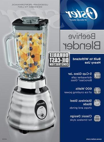 Oster 4093-008 Glass Jar Beehive Blender, Brushed