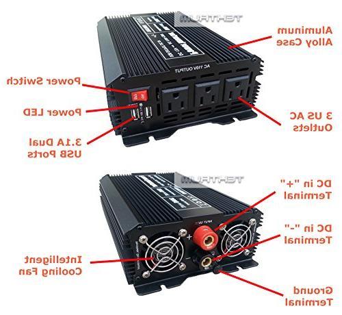 Tektrum Automotive Power Inverter DC 110V AC, 3 Outlets, 2 USB Intelligent Cables Best for Computer, Fan, A/C, Laptop, Phone