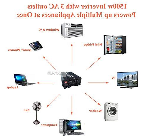 Tektrum Automotive 110V 3 Outlets, 2 Intelligent Cooling Fan, Battery Cables Best Computer, Fan, TV, A/C, Laptop, Smart