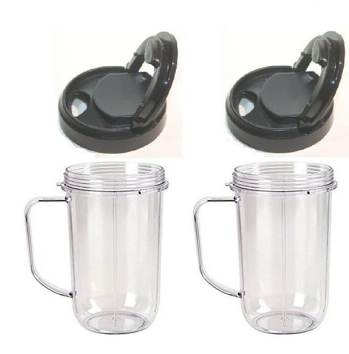 Blenpar 2pk Flip Top to Go Lid with 16oz Mug Cup Jar,Compati
