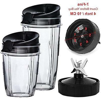 Nutri Ninja Blender Cups and Blade  Set | 5-Piece Replacemen
