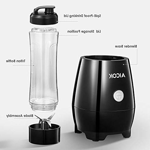 Personal Aicok Blender with Travel Bottle, Electric Stainless Steel 4-Blade Juice, Shakes and Food, 300W