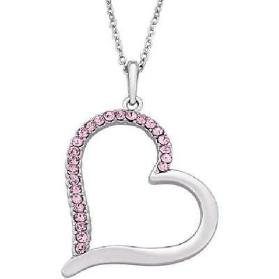 "Pink Rhinestone Sterling Silver-Plated Heart Pendant, 18"" wi"