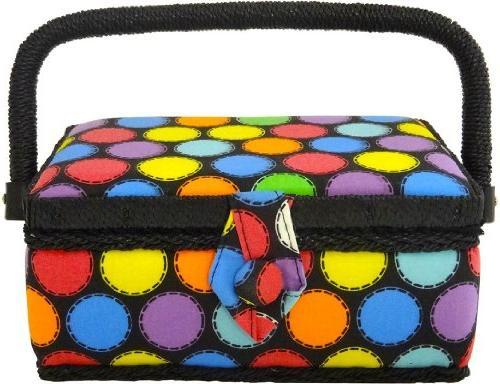 polka dot sewing basket