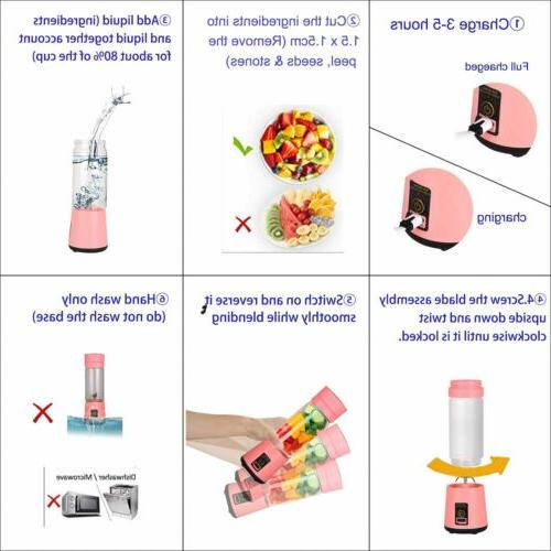 Portable USB Rechargeable Personal-size Blender Pink