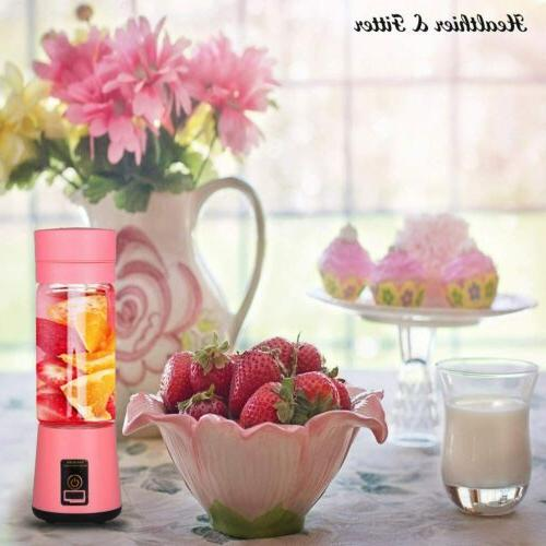 Portable Juicer Cup, USB Rechargeable Pink