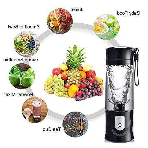 USB Electric Safety Cup, Mini Rechargeable Mixing Crush Blender Mixer ,420-530ml Water
