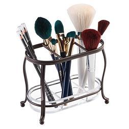 mDesign Decorative Makeup Brush Storage Organizer Tray Stand