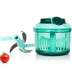 Manual Food Chopper with 3 Sharp Blades, Large 4 Cup Portabl