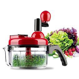 COAWG Manual Food Processor Chopper, 4 Cup Hand Crank Salsa