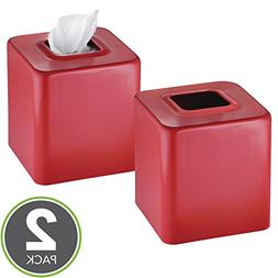 mDesign Modern Square Metal Paper Facial Tissue Box Cover Ho