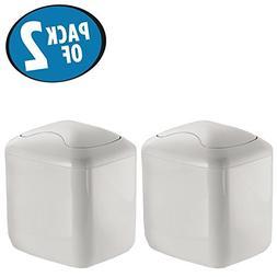 mDesign Modern Plastic Square Mini Wastebasket Trash Can Dis