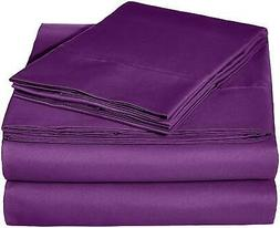 AmazonBasics Microfiber Sheet Set - Queen, Plum
