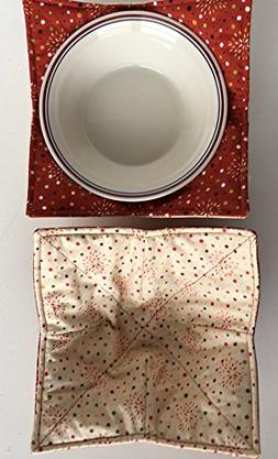MICROWAVE BOWL COZY Rust & Cream Blender,Bursts, gift, handm