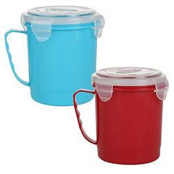 Home-X - Microwave Soup Mug Set with Secure Snap Close Vente