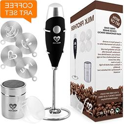 Milk Frother Coffee Art Set - Handheld Electric Portable Dri