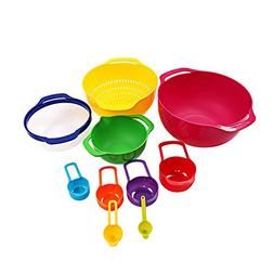 10 pieces of mixing bowl set and handle - nested mixing meas