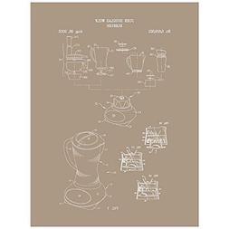 """Inked and Screened """"Blender A"""" Print, 18"""" x 24"""", Kraft - Whi"""