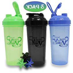 Protein Shaker Bottles by Critical Vitality | Blue-Green-Bla