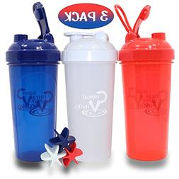 Protein Shaker Bottles by Critical Vitality | Red-White-Blue