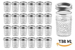Nellam Quilted Glass Jars with Lids - 6 OZ Wide Mouth Crysta