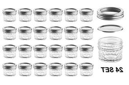 Nellam Quilted Glass Jars with Lids - 4 OZ Wide Mouth Crysta